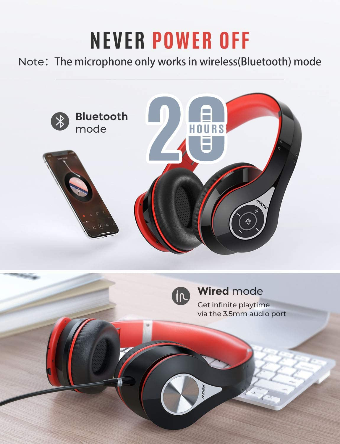 Mpow 059A Bluetooth Over-Ear Headphones – Red/Black